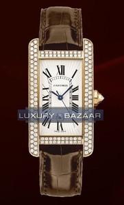 Cartier Tank Americane Medium (RG- Diamonds / Silver/ Leather)