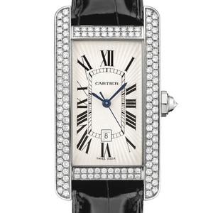 Cartier Tank Americane Medium (WG- Diamonds / Silver/ Leather)