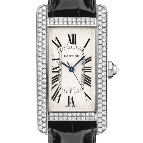 Cartier Tank Americane Medium (WG- Diamonds / Silver/ Leather)