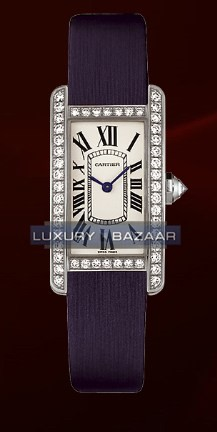 Cartier Tank Americane Small (WG- Diamonds / Silver/ Leather)