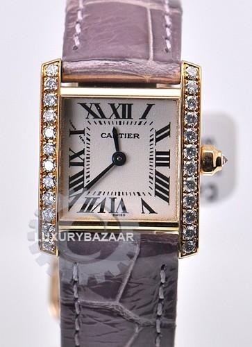 Cartier Tank Francaise (RG-Diamonds / Silver / Leather Strap)