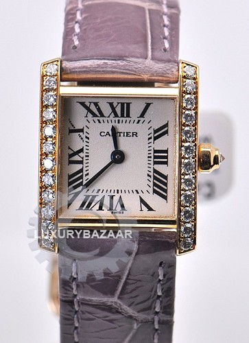 Cartier Tank Francaise (RG-Diamonds / Silver / Leather Strap)