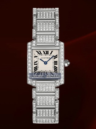 Cartier Tank Francaise Small ( WG-Diamonds / Silver / WG-Diamond Bracelet)