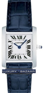 Cartier Tank Francaise (WG/ Silver / Croc Leather )