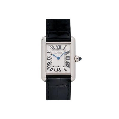 Cartier Tank Louis Ladies (WG / Silver /Croc Leather)