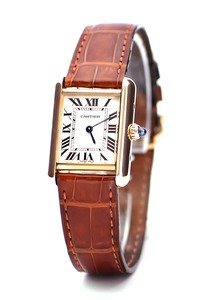 Cartier Tank Louis Ladies (YG / Silver /Croc Leather)