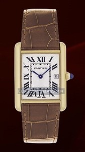 Cartier Tank Louis Large (YG / Silver / Leather)