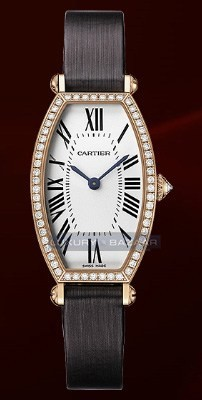 Cartier Tonneau Small (RG- Diamonds / Silver / Leather)
