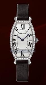 Cartier Tonneau Small (WG- Diamonds / Silver / Leather)