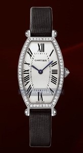 Cartier Tonneau Small (WG- Diamonds / Silver / Leather)