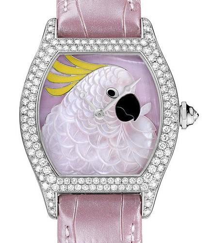 Cartier Tortue Cartier d 'Art Cockatoo (WG-Diamonds / WG-Pink MOP-Enamel / Leather Strap)