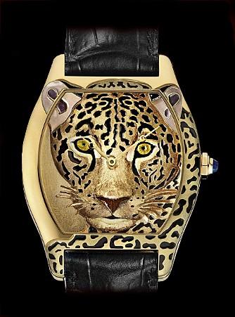 Cartier Tortue Cartier d 'Art Jaguar (YG / YG-Enamel / Leather Strap)