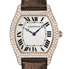 Cartier Tortue Large (RG- Diamonds/ Silver / Leather)