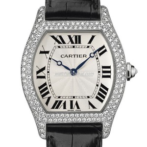 Cartier Tortue Large (WG- Diamonds/ Silver / Leather)