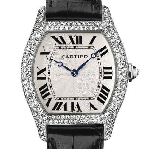 Cartier Tortue Large (WG- Diamonds/ Silver / Leather)