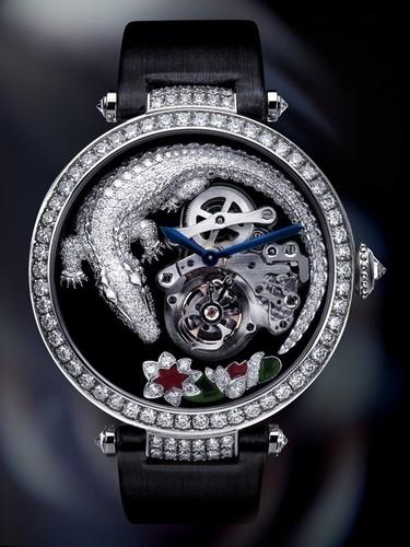 Cartier Tourbillon and Crocodile Watch (WG-Diamonds / Diamonds-MOP / Canvas Strap)