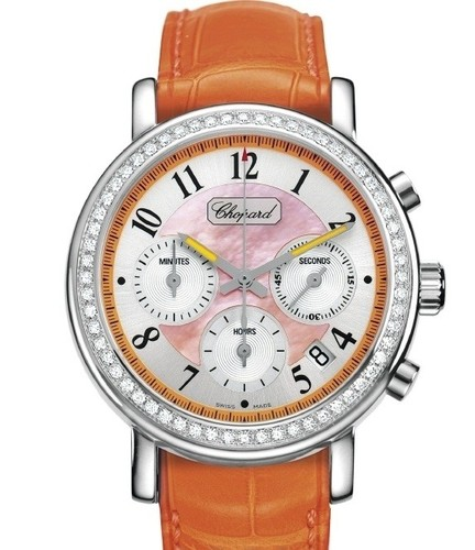 Chopard Elton John Chronograph (SS-WG-Diamonds / Orange / Leather) 178331-2003