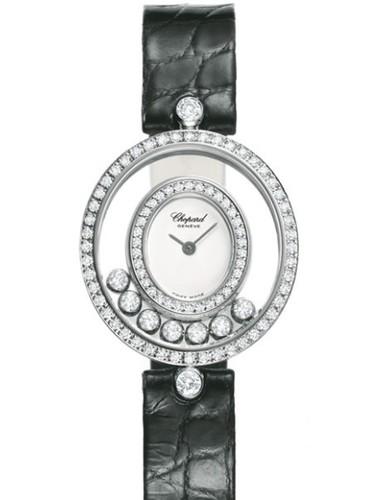 Chopard Happy Diamonds Round 7 Diamonds (WG / White / Leather) 204292-1001
