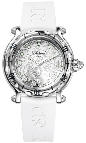 Chopard Happy Snowflakes (SS / White-Diamonds / White Rubber Strap) 278949-3001