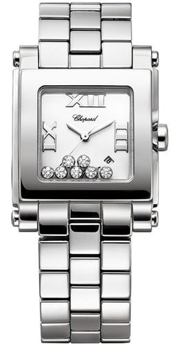 Chopard Happy Sport 7 Diamonds Square Medium (SS / Diamonds-White / SS Bracelet) 278496-3001