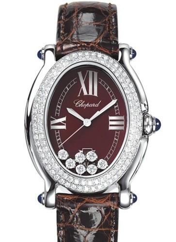 Chopard Happy Sport 7 Diamonds (SS-WG-Diamonds / Brown / Leather) 278953-2004