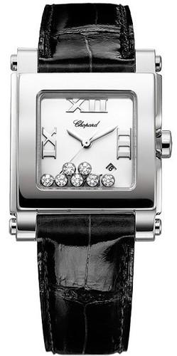 Chopard Happy Sport 7 Diamonds (SS / Black / Leather) 278495-3001