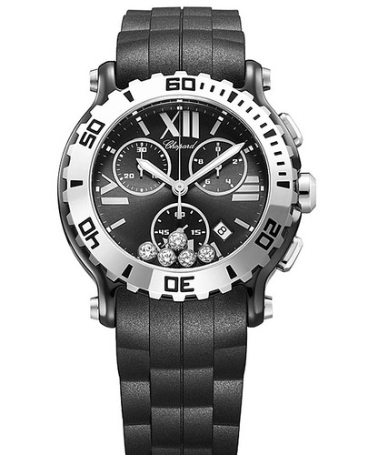 Chopard Happy Sport Chronograph 288515-9005 (SS / Black-Diamonds / Rubber Strap)