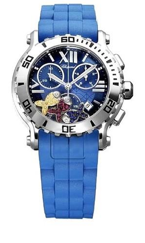Chopard Happy Sport Chronograph Fish (SS / Blue-Gemstone / Blue Rubber Strap) 288499-3018