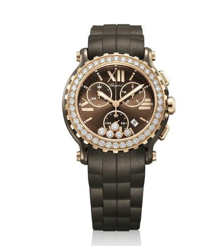 Chopard Happy Sport Chronograph (RG-Ceramic-Diamonds / Brown-Diamonds / Rubber Strap) 288515-9004