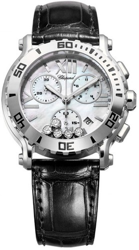 Chopard Happy Sport Chronograph (SS / White-Diamonds / Leather Strap) 288499-3006
