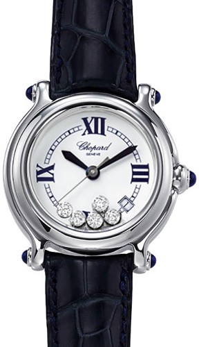 Chopard Happy Sport Classic Round (SS / MOP-Diamonds / Leather Strap) 288964-3003