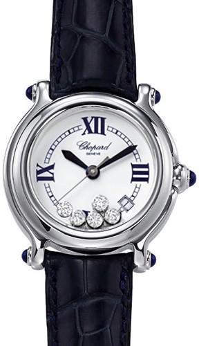 Chopard Happy Sport Classic Round (SS / MOP-Diamonds / Leather Strap) 288964-3003
