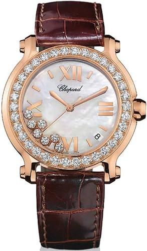 Chopard Happy Sport II Round (RG-Diamonds / MOP-Diamonds / Leather Strap) 277473-5002