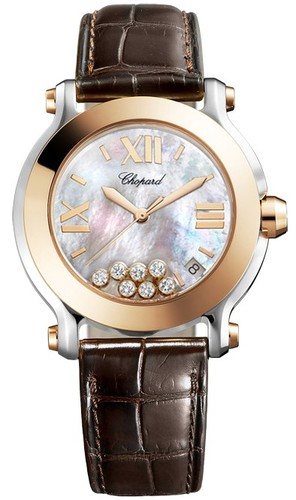 Chopard Happy Sport II Round (RG-SS / MOP-Diamonds / Leather Strap) 278492-9004