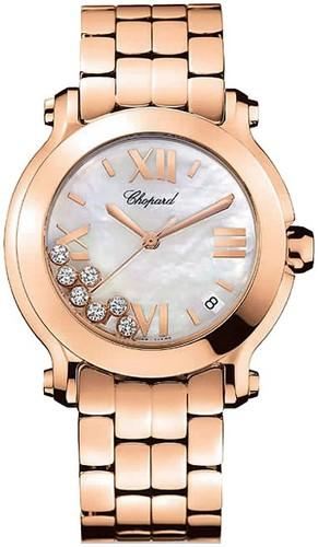 Chopard Happy Sport II Round (RG / MOP-Diamonds / RG Bracelet) 277472-5002