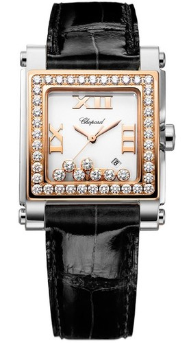 Chopard Happy Sport II Square Medium (SS-RG-Diamonds / White-Diamonds / Leather Strap) 278497-9002