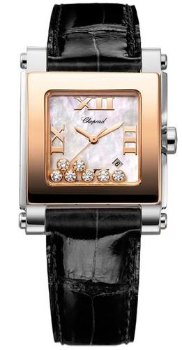 Chopard Happy Sport II Square Medium (SS-RG / MOP-Diamonds / Leather Strap) 278497-9003