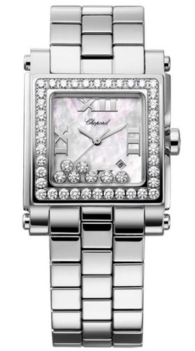 Chopard Happy Sport II Square Medium (SS-WG-Diamonds / MOP-Diamonds / Stainless Steel Bracelet) 278505-2001