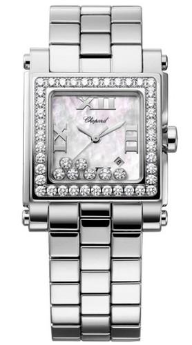 Chopard Happy Sport II Square Medium (SS-WG-Diamonds / MOP-Diamonds / Stainless Steel Bracelet) 278505-2001