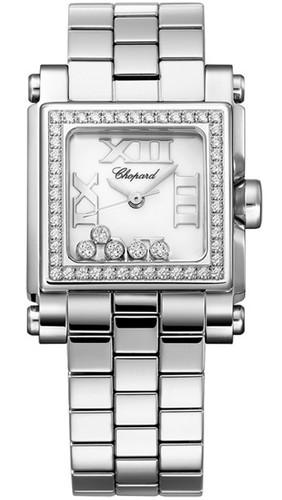 Chopard Happy Sport II Square Small (SS-Diamonds / White-Diamonds / Stainless Steel Bracelet) 278516-3004