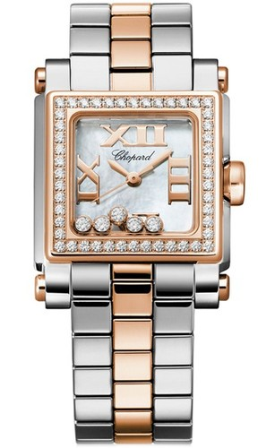 Chopard Happy Sport II Square Small (SS-RG-Diamonds / White MOP-Diamonds / Stainless Steel-RG Bracelet) 278516-6004
