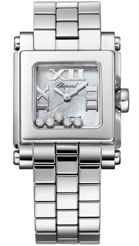 Chopard Happy Sport II Square Small (SS / White MOP-Diamonds / Stainless Steel Bracelet) 278516-3006