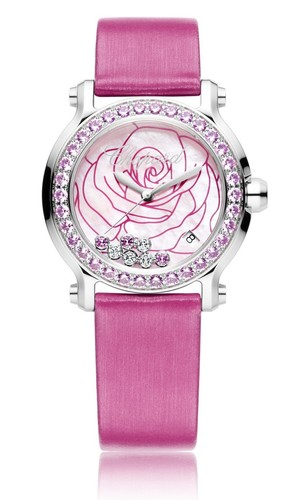 Chopard Happy Sport La Vie En Rose (SS-Sapphires / MOP-Gemstones / Strap) 278475-3030