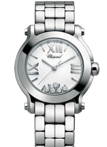 Chopard Happy Sport Mini 5 Diamonds (SS / White / Diamonds / Bracelet) 278509-3002