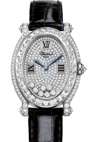 Chopard Happy Sport Oval 7 Diamonds (SS / Diamonds / White / Leather) 277136-1001