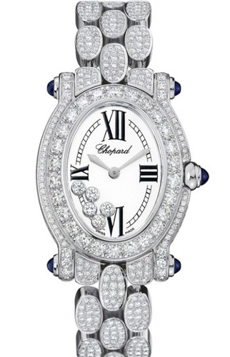 Chopard Happy Sport Oval (WG-Diamonds / Silver / WG-Diamonds) 277467-1001