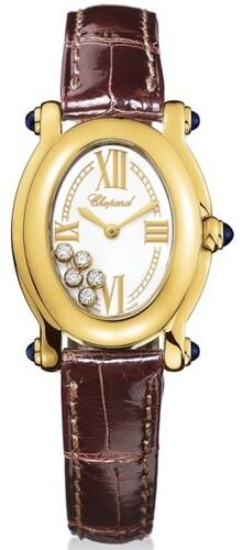 Chopard Happy Sport Oval (YG / Silver / Leather) 277465-0005