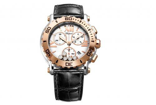 Chopard Happy Sport Round 5 Diamonds Chronograph (RG / SS / Black / Diamonds / Strap) 288499-6001