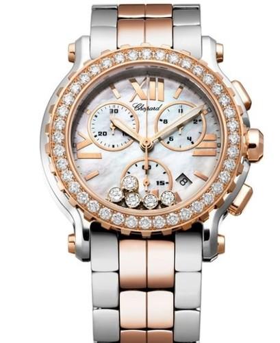 Chopard Happy Sport Round 5 Diamonds Chronograph (RG / SS / White / Diamonds / Bracelet) 288506-6002