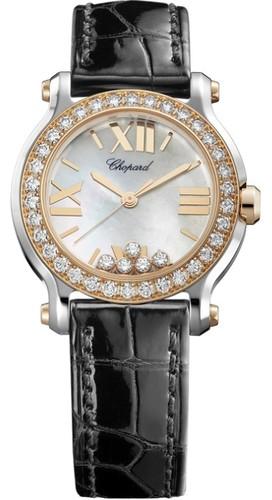 Chopard Happy Sport Round 5 Diamonds (RG / SS / White / MOP / Diamonds / Leather) 278509-6006